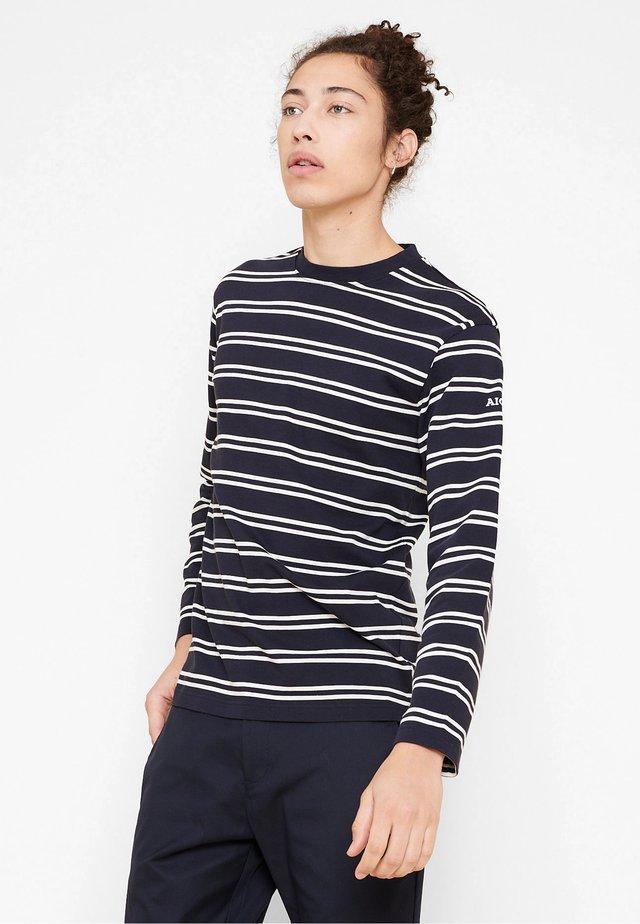 TINOTO - T-shirt à manches longues - bleu marine/blanc