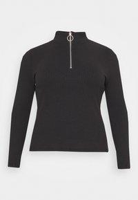 Glamorous Curve - LONG SLEEVE ZIP UP - Long sleeved top - black - 0