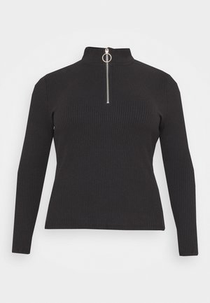 LONG SLEEVE ZIP UP - Long sleeved top - black
