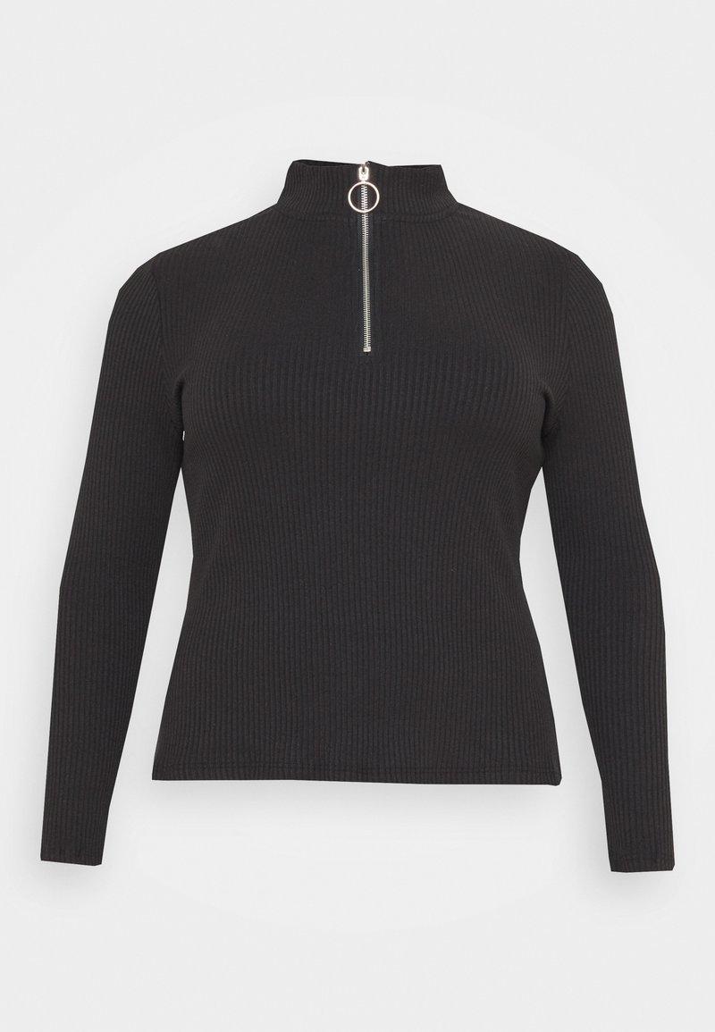 Glamorous Curve - LONG SLEEVE ZIP UP - Long sleeved top - black