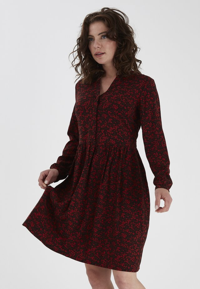 FRLAPREP - Day dress - black w. barn red