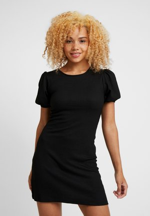 CRINKLE PUFF SLEEVE - Shift dress - black