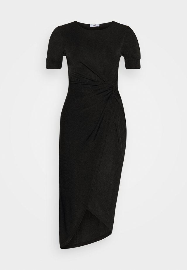 KNOT TIE MIDI DRESS - Freizeitkleid - black/shimmer