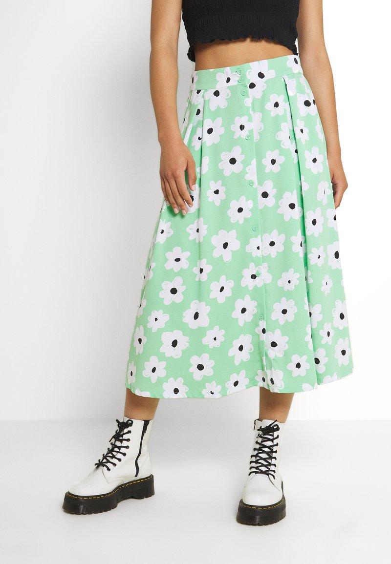Monki - SIGRID BUTTON SKIRT - A-line skirt - green light