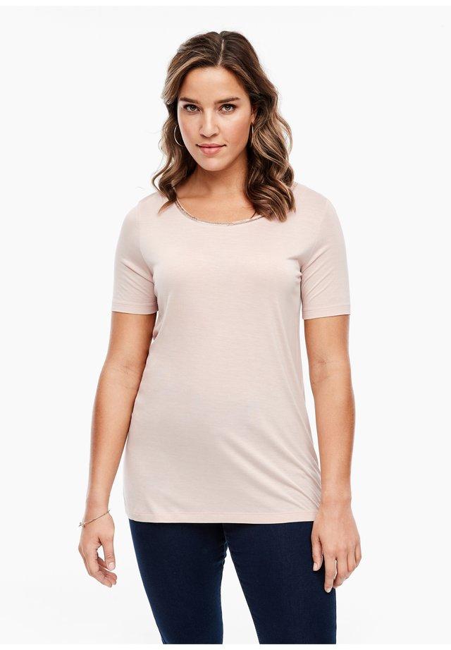 MIT SCHMUCK-KRAGEN - Basic T-shirt - beige