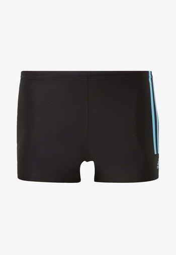 FIT SEMI 3 STRIPES BOXER SWIM TRUNKS - Swimming trunks - black