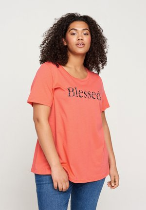 Print T-shirt - living coral blessed