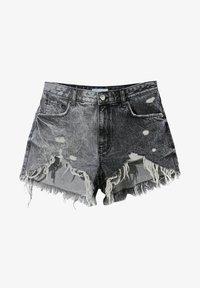 Bershka - MIT RISSEN - Denim shorts - grey - 5