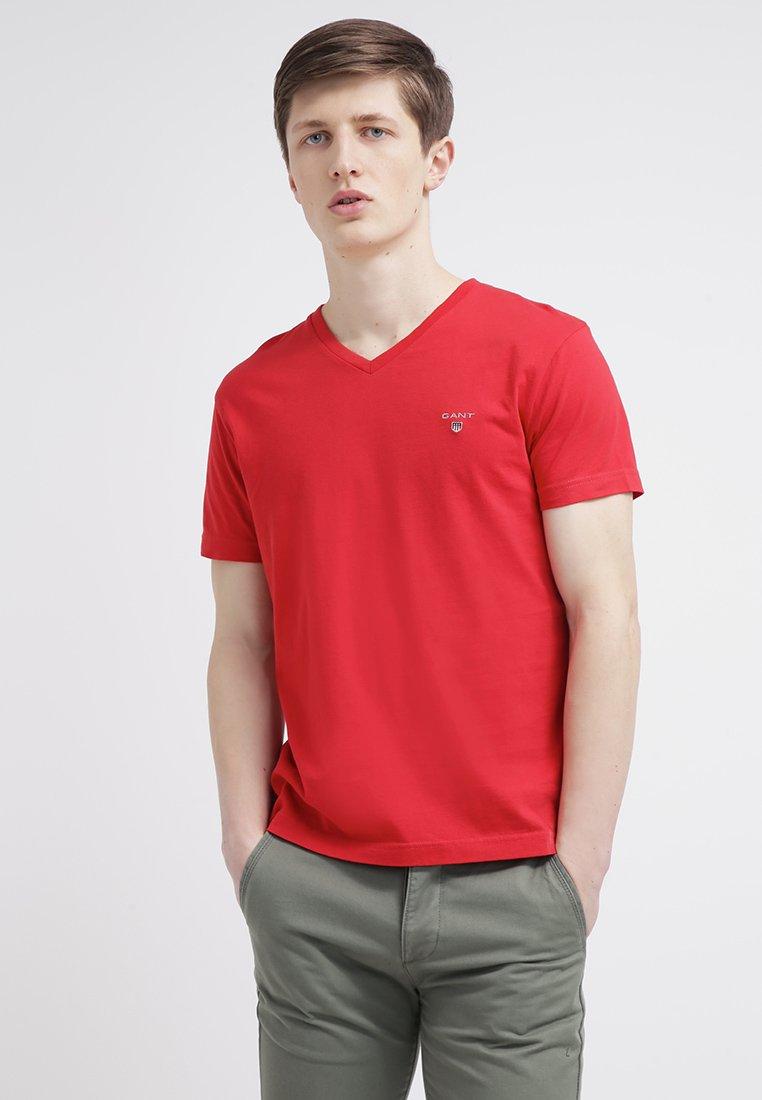 GANT - ORIGINAL SLIM V NECK - T-shirt - bas - bright red