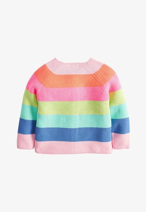 MULTI FLURO RAINBOW STRIPE CARDIGAN (3MTHS-7YRS) - Vest - pink