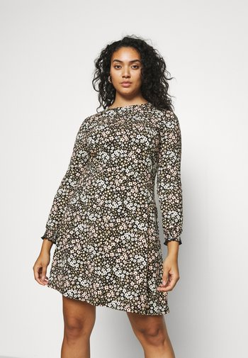 FLORAL PUFF SLEEVE FIT & FLARE DRESS - Jersey dress - multi