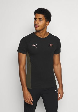 MANCHESTER CITY EVOSTRIPE TEE - Sports shirt - black/forest night