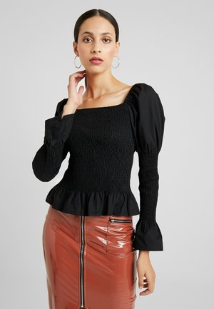 SHIRRED MILKMAID - Blusa - black