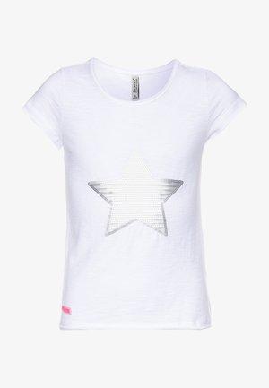 GIRLS PAILLETTEN STERN - Print T-shirt - schneeweiß
