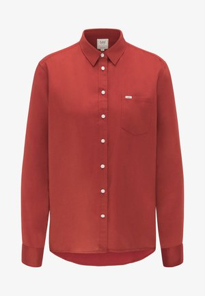 ONE POCKET - Button-down blouse - red ochre