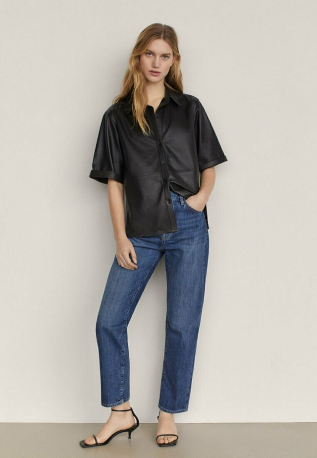 MIT HALBHOHEM BUND  - Jeans a sigaretta - dark blue