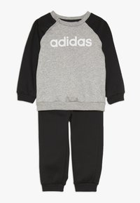 adidas Performance - ESSENTIALS LINEAR TRACKSUIT BABY SET - Træningssæt - medium grey heather/black/white - 0