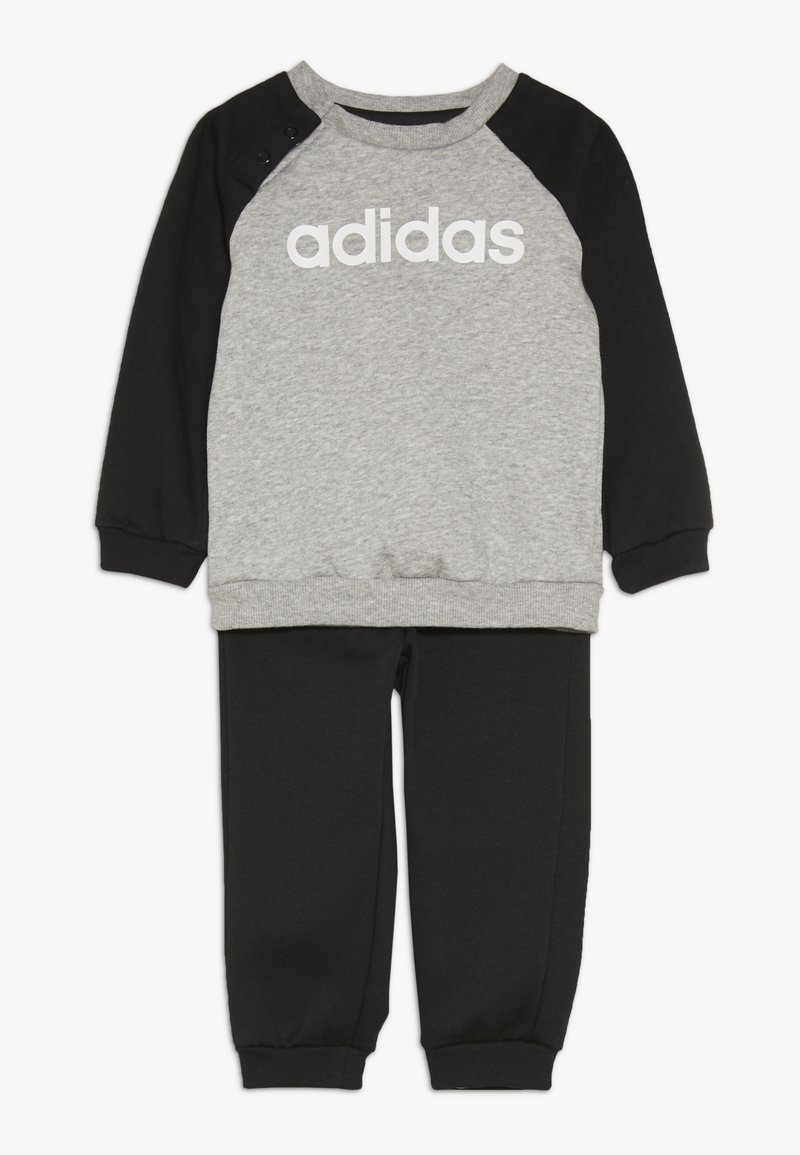 adidas Performance - ESSENTIALS LINEAR TRACKSUIT BABY SET - Træningssæt - medium grey heather/black/white