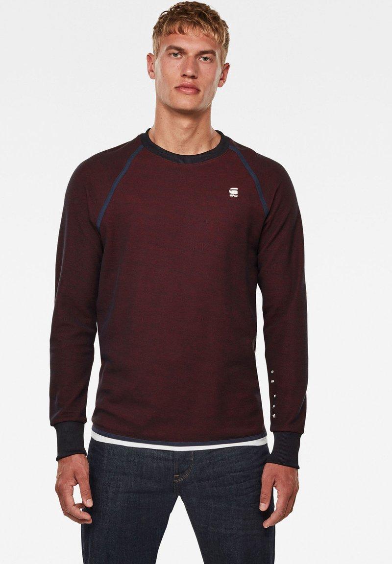G-Star - JIRGI TAPE DETAIL ROUND LONG SLEEVE - Sweatshirt -  blue/dry red