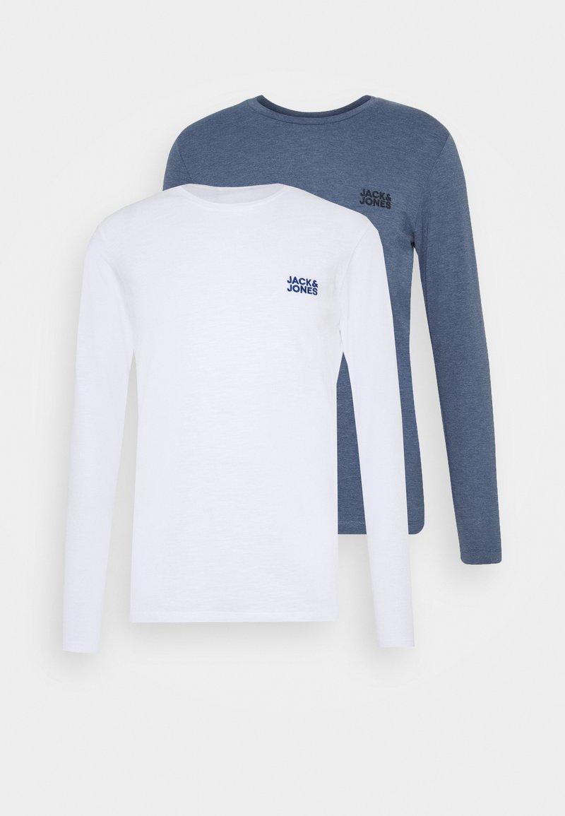 Jack & Jones JJADAM TEE CREW NECK 2 PACK - Langarmshirt - denim blue/white/blue denim 4Z7Uf2
