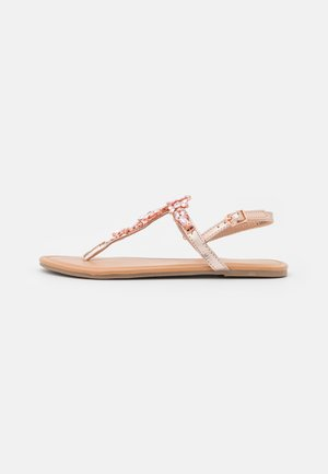 WIDE FIT FLOWER TOEPOST - Infradito - rose gold