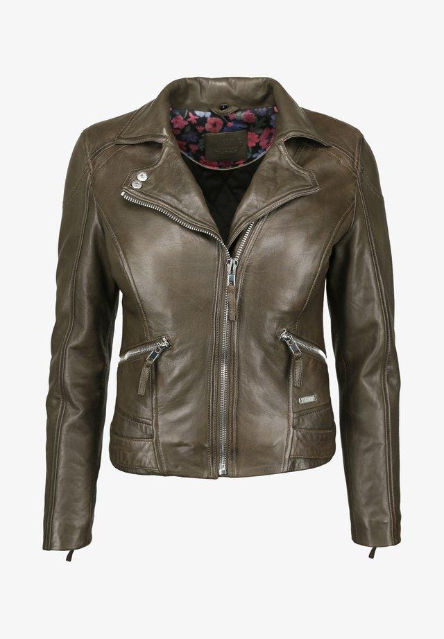 MIT HEMDKRAGEN - Leather jacket - olive
