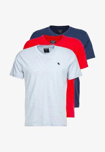 NEW FRINGE V NECK 3 PACK - T-shirt med print - red/light blue/navy blue