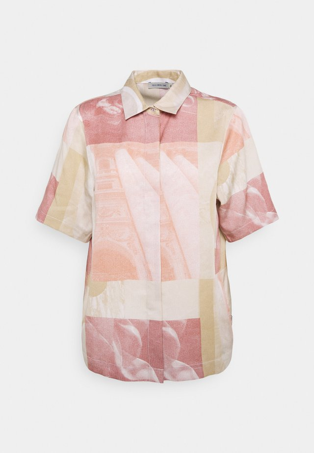 HIN - Button-down blouse - pink melange / offwhite