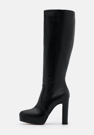 Kozačky na vysokém podpatku - black