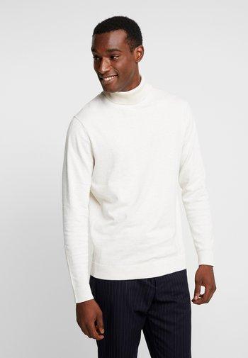 SLHTOWER ROLL NECK  - Stickad tröja - white melange
