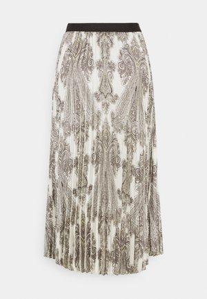 ANIA PRINTED - Plisovaná sukně - offwhite