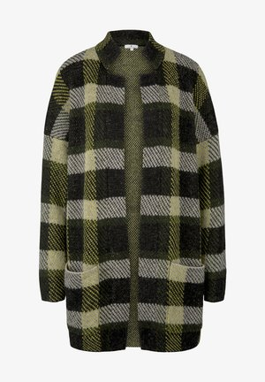 Cardigan - black yellow check knitted