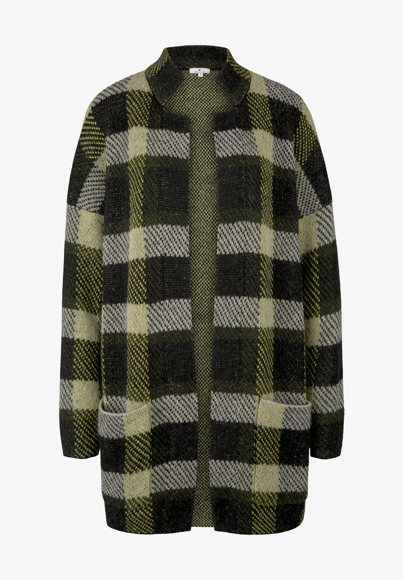 TOM TAILOR Strickjacke - black yellow check knitted/gelb hfOSV7