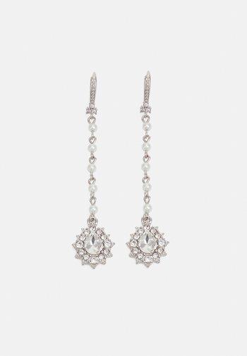 LINEAR - Earrings - silver-coloured/white