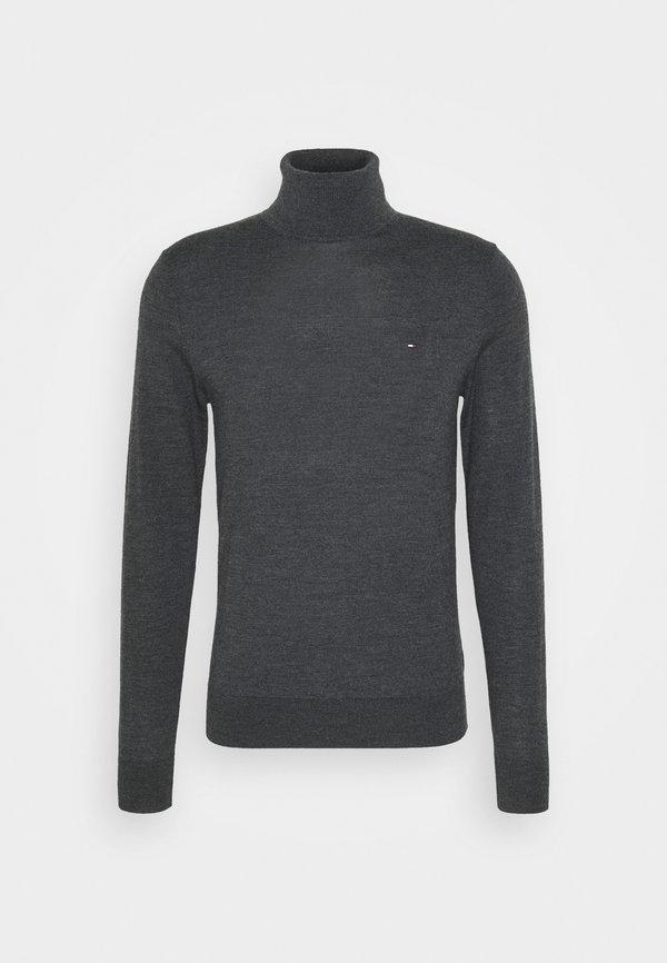Tommy Hilfiger Tailored FINE GAUGE LUXURY ROLL - Sweter - magnet heather/ciemnoszary melanż Odzież Męska CYKI