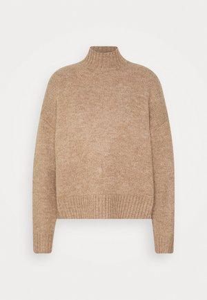 BASIC- spongy perkin neck - Pullover - camel melange