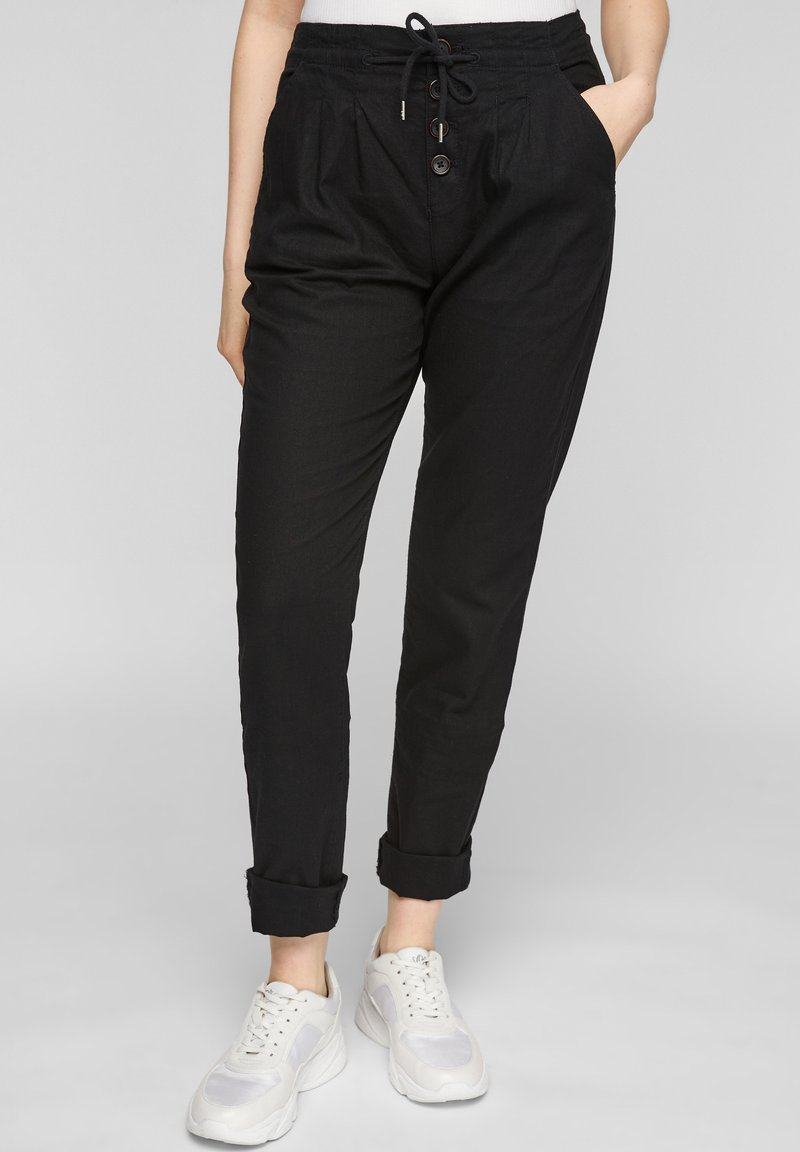 QS by s.Oliver - REGULAR FIT - Trousers - black