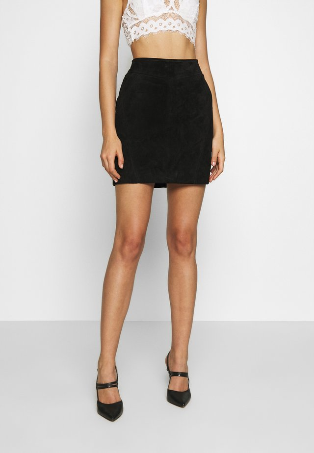 VISUSA SKIRT - Leather skirt - black