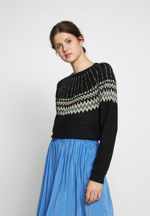 FAIRISLE JUMPER - Strickpullover - black