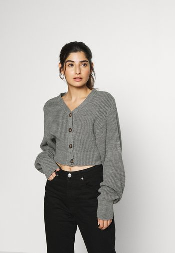 CROPPED WITH LOW V NECK AND PUFF LONG SLEEVES - Cardigan - light grey marl