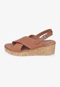 Piazza - Wedge sandals - cognac - 0