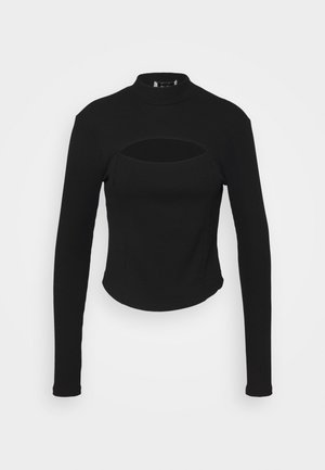 CUT OUT CHEST DETAIL  - T-shirt à manches longues - black
