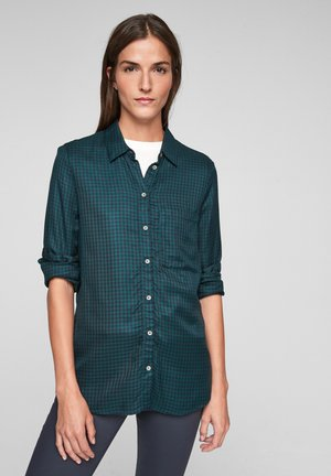Button-down blouse - forest green check