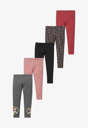 5  PACK - Leggings - Trousers - gray / dark red