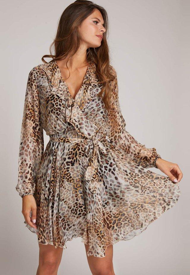 Korte jurk - mehrfarbig beige