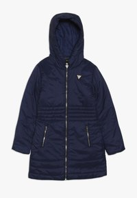 Guess - JUNIOR PADDED HOODED LONG JACKET - Winter coat - deck blue - 0