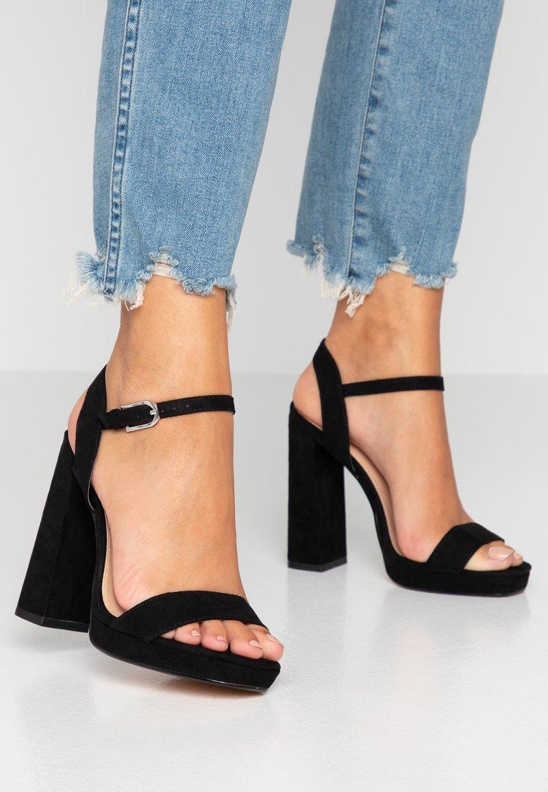 Topshop Wide Fit - WIDE FIT SABINE PLATFORM - High heeled sandals - black