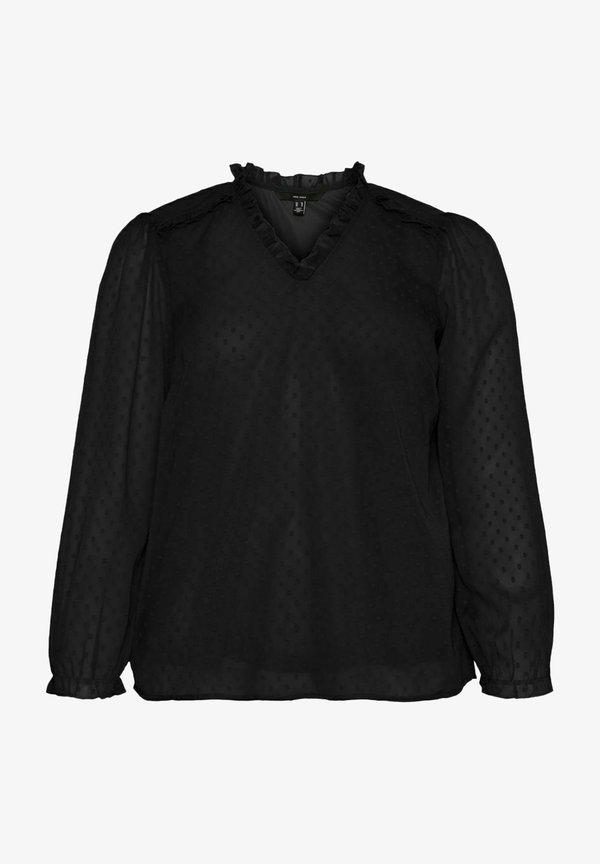 Vero Moda Curve LONG SLEEVE - Bluzka - black/czarny DLLA