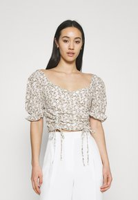 Glamorous - RUCHED BLOUSES WITH FRONT TIE DETAILS - Blusa - white - 0