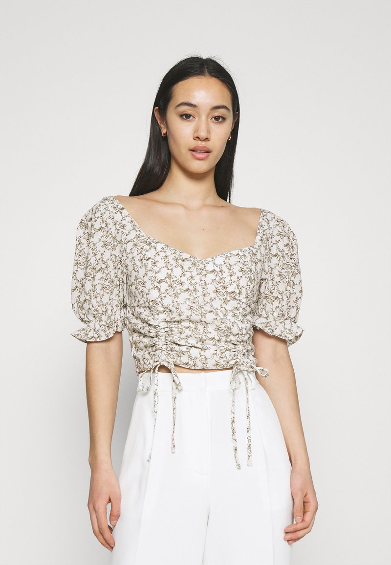Glamorous - RUCHED BLOUSES WITH FRONT TIE DETAILS - Blusa - white